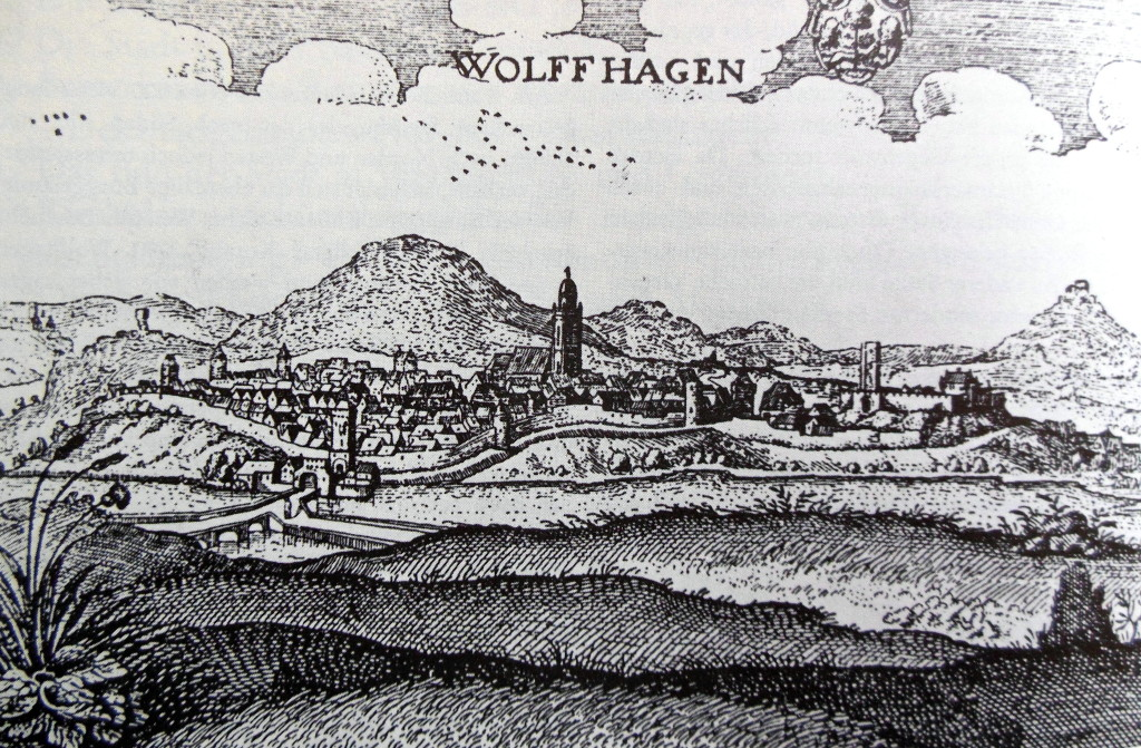 Wolfhagen, kopergravure, Merian, 1630