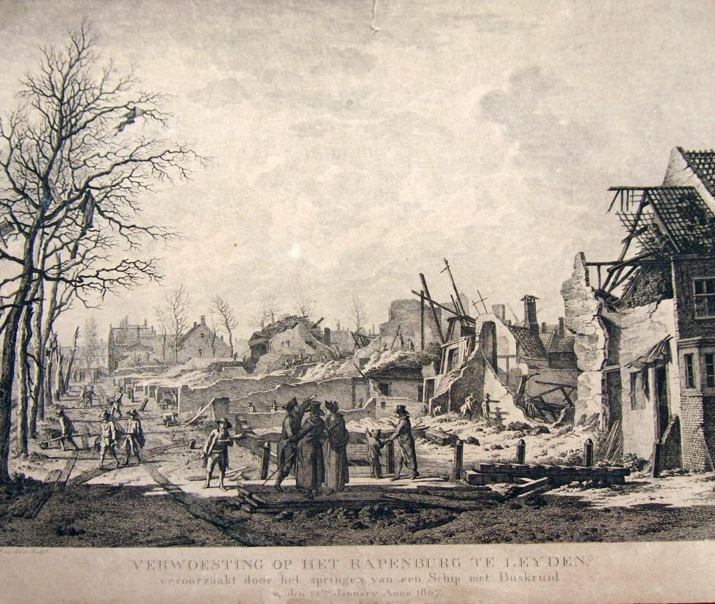 Ontploffing van een kruitschip aan het Rapenburg/Steenschuur te Leiden op 12 januari 1807. Privébezit Peter Imthorn