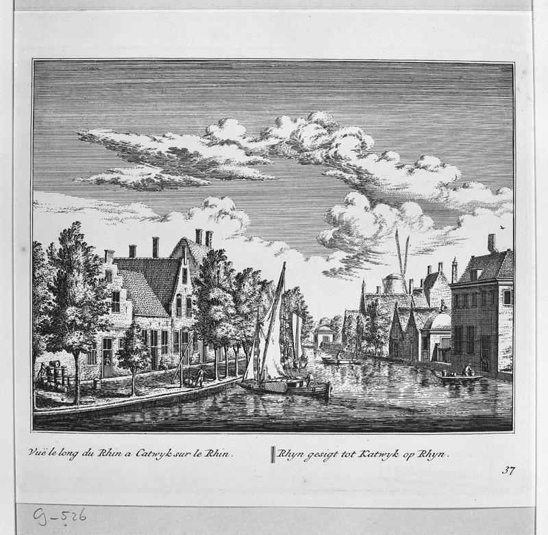 De Rijn in Katwijk aan den Rijn. Links 't Zand waar de brouwerij van Justus Hendrik gevestigd was (Beeldbank RCE 277762)