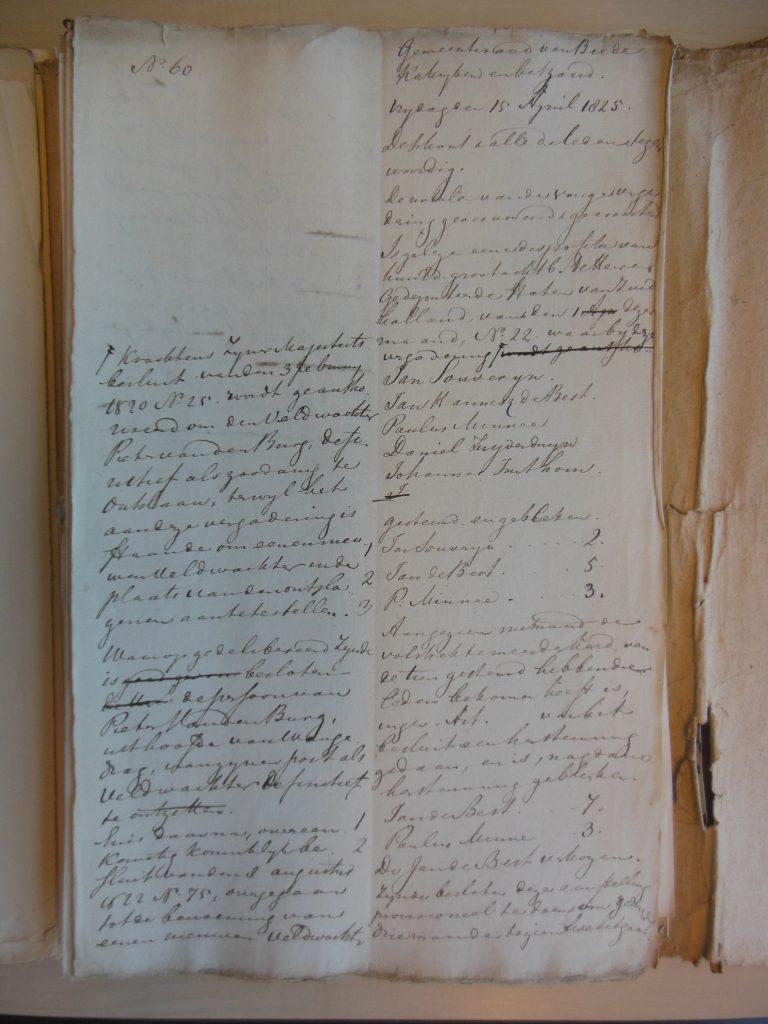 Johannes geen veldwachter geworden 1825